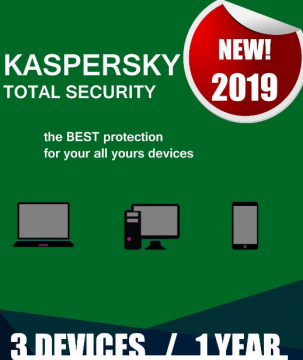 Kaspersky Total Security 2019 3 Devices 1 Year PC/Mac/Android