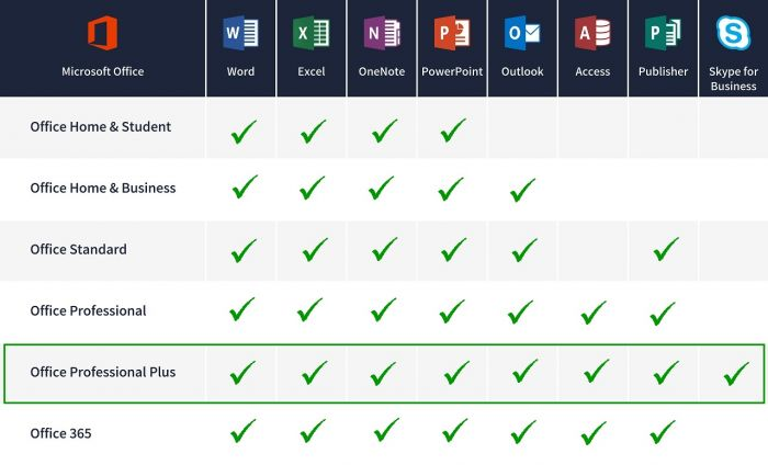 details of applications included in Office Professional 2019 software package